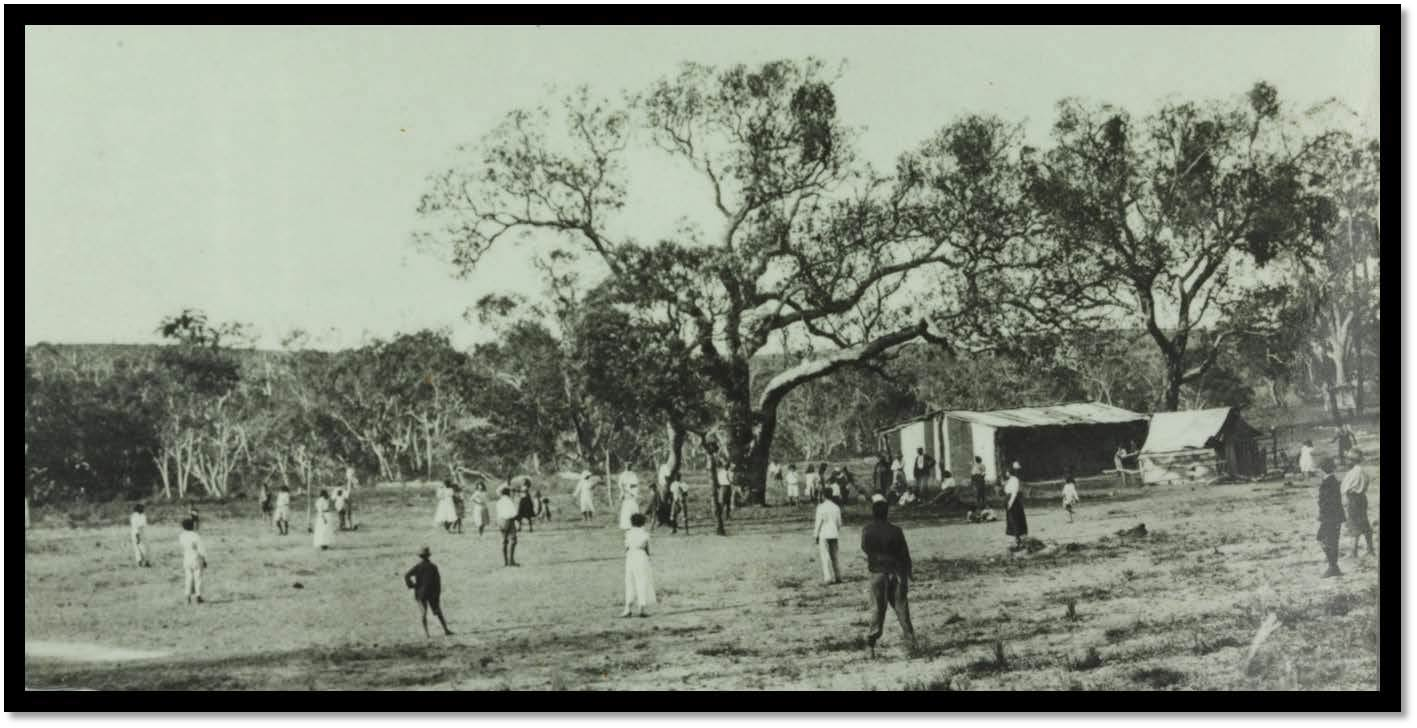 Moore River Native Settlement group playing 'rounders'