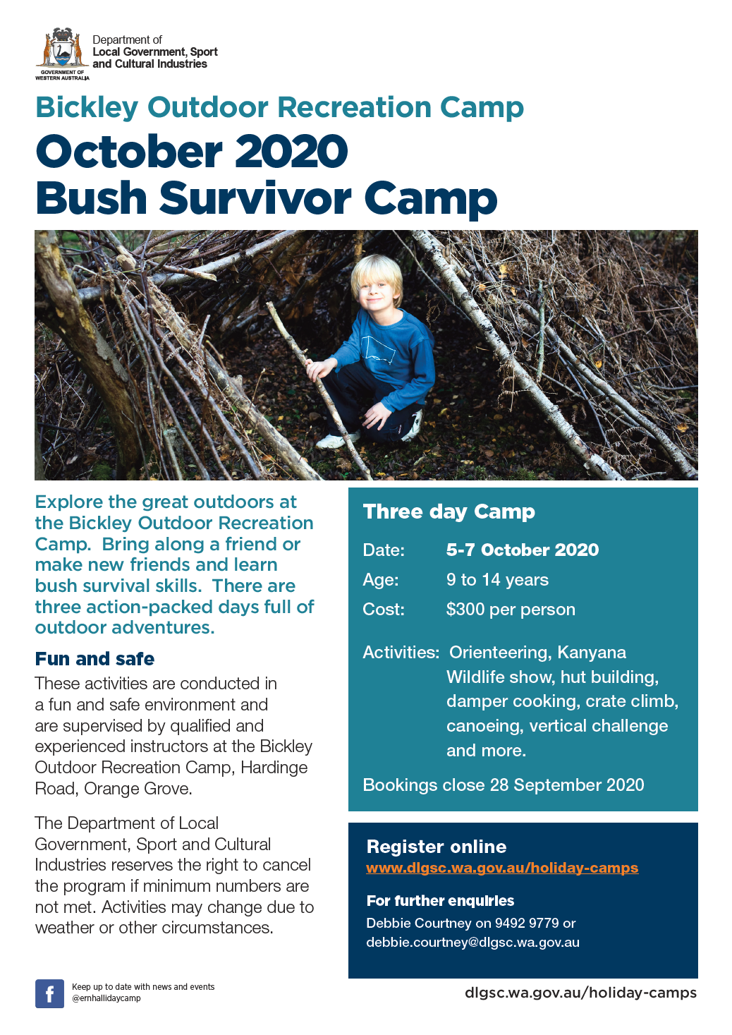 Bickley Bush Survivor October 2020 flyer