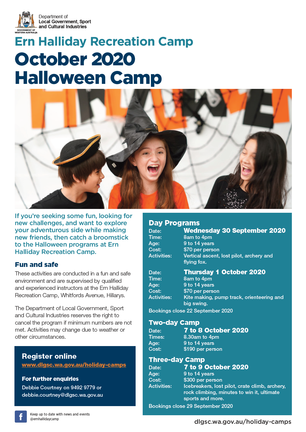Ern Halliday Halloween Camp October 2020 flyer
