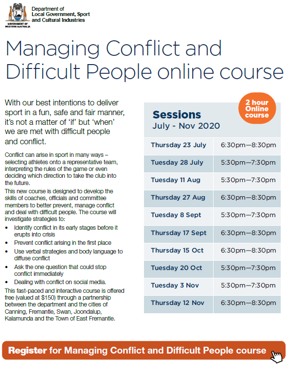 Promotional flyer for Managing Conflict and Difficult People