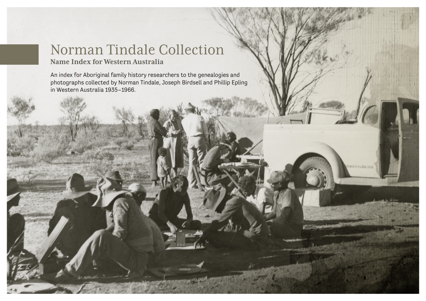 Norman Tindale Collection cover showing an old photograph