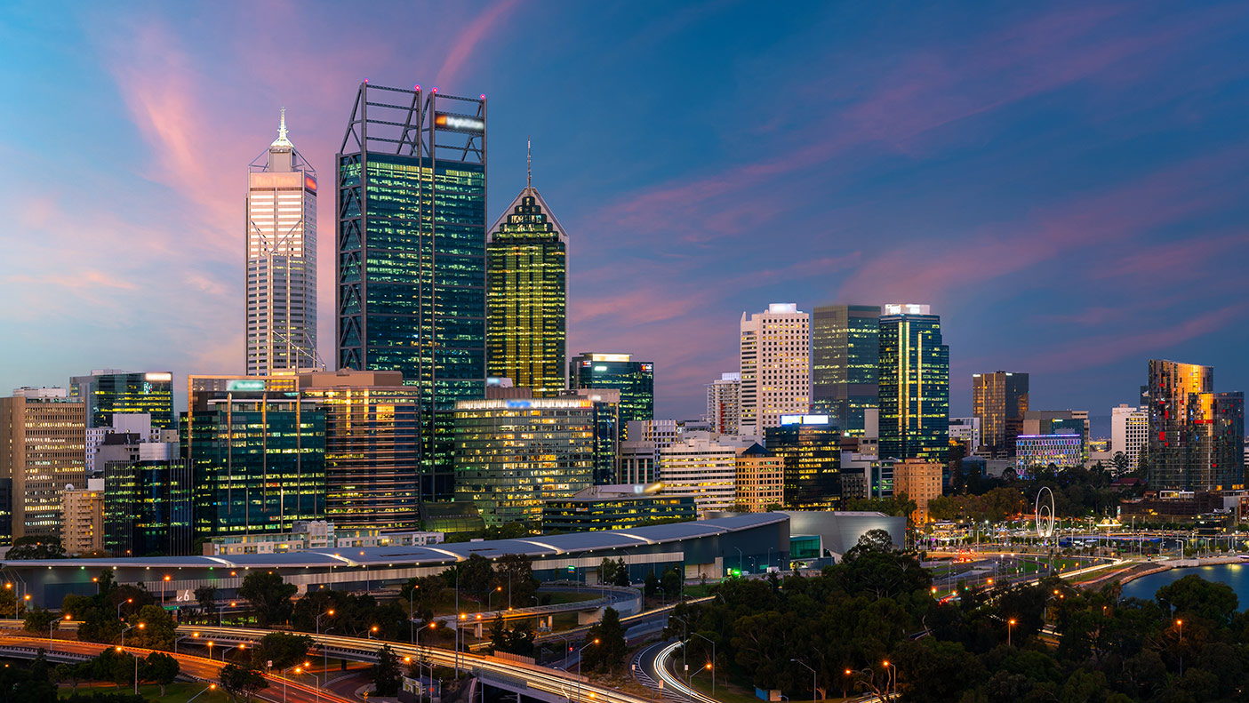 Downtown Perth city skyline at twilight in Western Australia, Australia. - stock photo