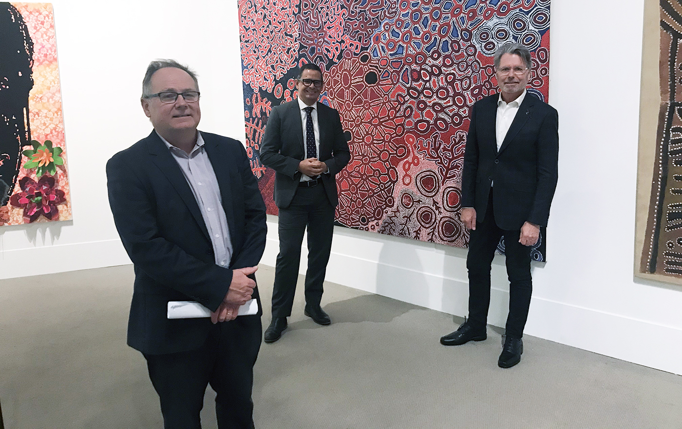 Culture and Arts Minister David Templeman, Aboriginal Affairs Minister Ben Wyatt and AGWA Foundation Chair, Warwick Hemsley in the Art Gallery of Western Australia.