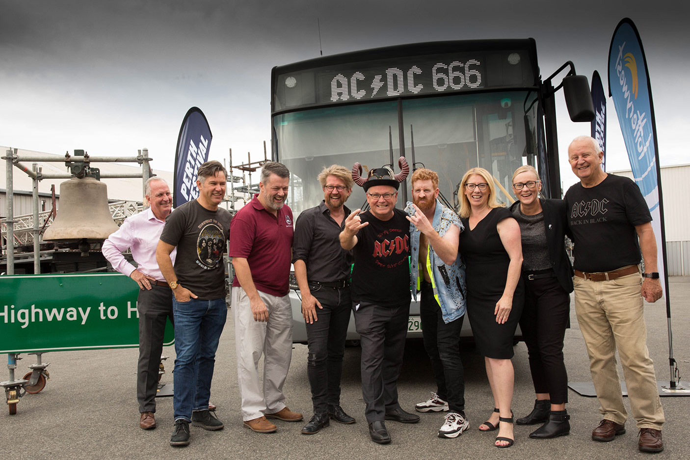 Highway to Hell: Minister David Templeman and Minister Rita Saffioti with organisers of the Highway to Hell in front of a Transperth Bus