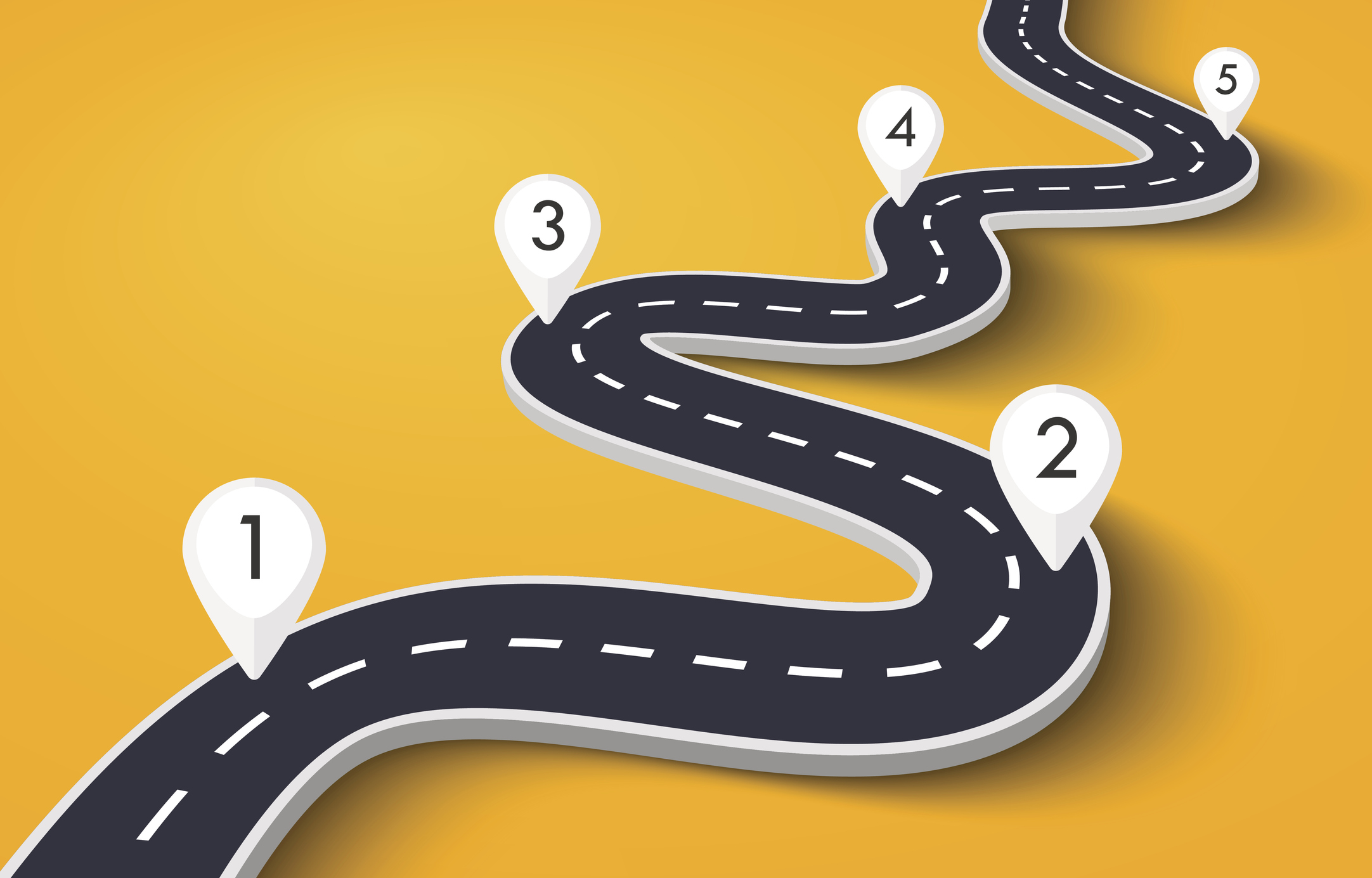 Illustration of stages along a road
