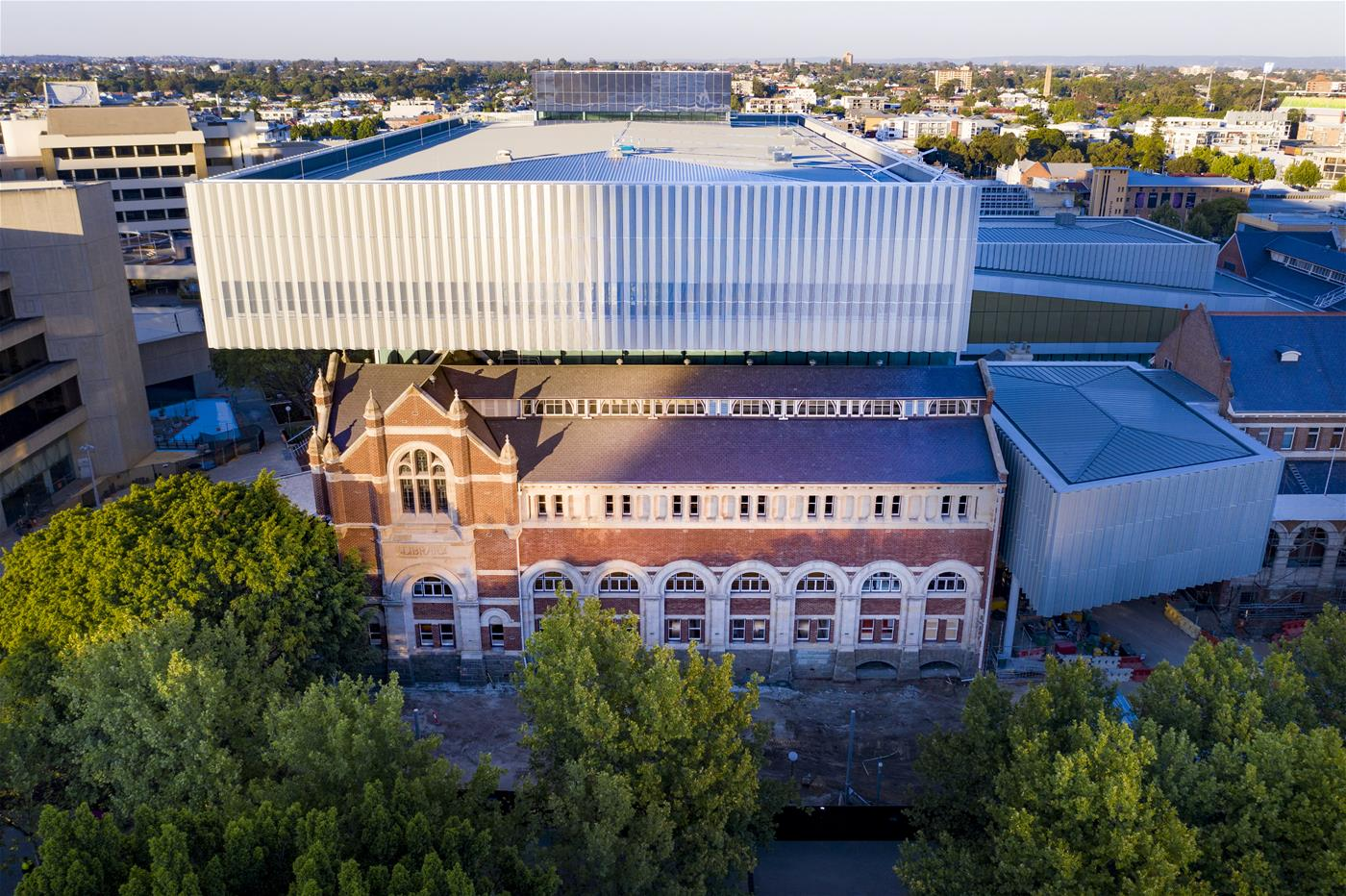 Aerial view of the Western Australian Museum from James Street.