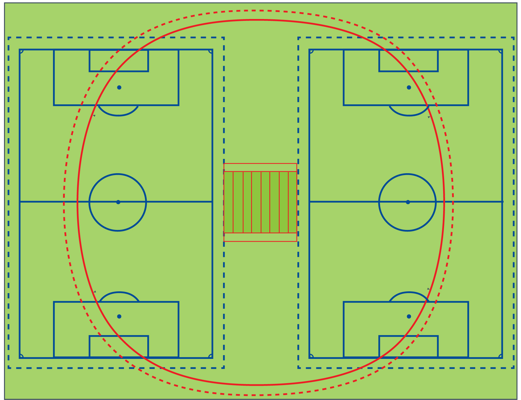Combined cricket, football and hockey pitches