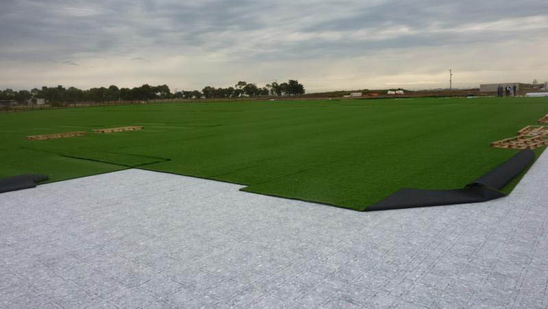 Construction of the first AFL and CA endorsed synthetic turf oval in Australia at Point Cooke, Melbourne