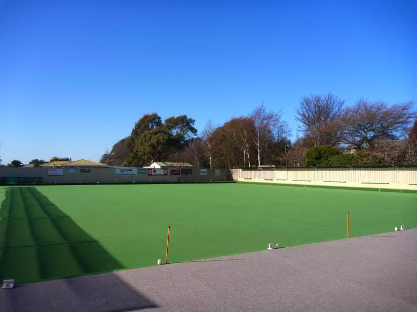 Synthetic turf lawn bowls green