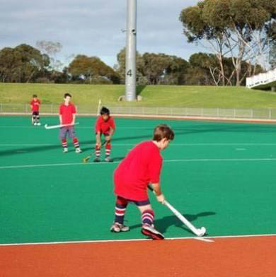 Typical hockey pitch surfaces water-based infilled