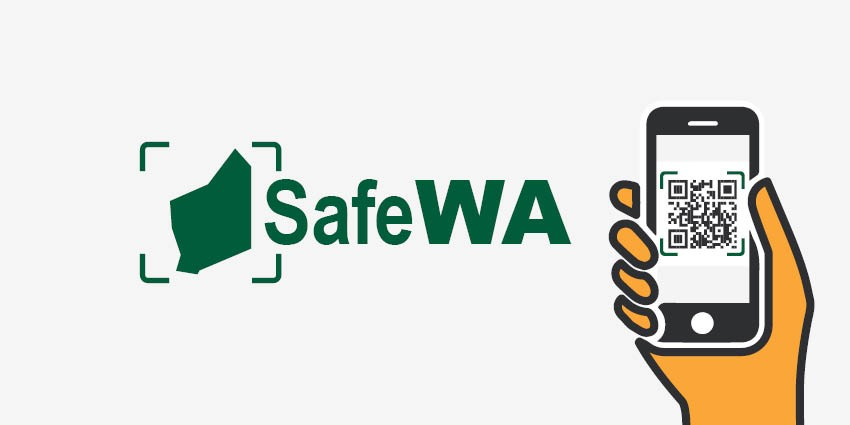SafeWA contact register app logo with smartphone